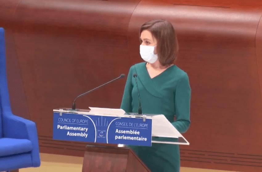 Maia Sandu a cerut susținere de la APCE pentru respectarea drepturilor omului în regiunea transnistreană